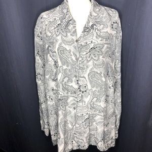 Vintage 100% Silk Paisley Button Down